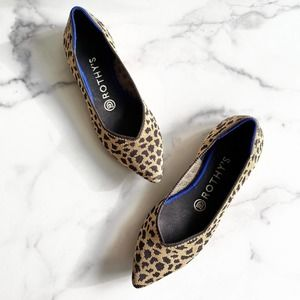 Rothy's The Point Leopard Print Flat Shoes Size 7